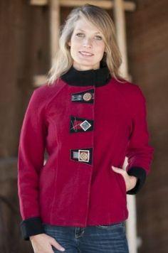 Women's Audrey Boiled Wool Jacket, RED, Size XXLARGE (1x(14W-16W) ) Overland Sheepskin Co. $249.00