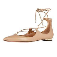 Aibarbie Women's Ladies Dianvito Leather Point-toe Handmade Elegant Ankle Tie Ballet Flats Pumps Shoes Beige 5 M US Aibarbie http://www.amazon.com/dp/B0179DZR1M/ref=cm_sw_r_pi_dp_pxbHwb0DJ19S0