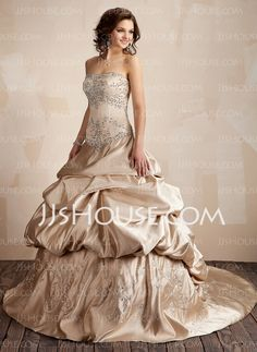 A-Line/Princess Strapless Chapel Train Satin Wedding Dresses With Embroidery  Ruffle  Beadwork (002001445)