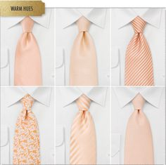 Six of our most popular peach colored ties for spring & summer weddings.