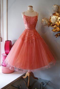 Vintage 1950's Dress // 50's Coral Splendor Dress by xtabayvintage