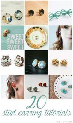 20 DIY Stud Earring Tutorials - Mad in Crafts