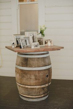 Wine Barrels for Memorial table at Rustic Weddings #wedding #memorial #table