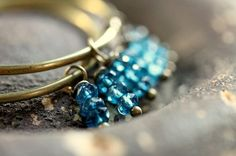 "London Blue Quartz and Brass Feminine Hoop Earrings - ""Tahiti"" on Etsy, $29.00"