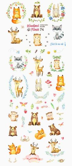 Woodland Friends. Watercolor bundle by StarJam on @creativemarket
