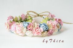 paper  flower headband    wedding headband   flower by byThita
