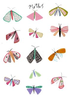 Check out the illustration work of Amyisla Mccombie. We love her illustration style. It reminds me a lot of Eric Carle's. She uses a purposely simplified style, which lends itself well to children's books. Check her out! Art Lessons, Print Patterns, Art For Kids, Art Projects, Illustration Art, Butterfly Illustration, Pattern Illustrations, Doodles, Artsy
