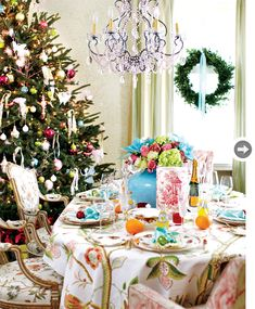 bright table setting for Boxing Day