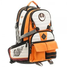 "Star Wars Rebel Squadron Pilot Laptop BackpackApprox 20"" x17"" x 7"" Two Front Pockets with Zip Pocket and Further Front Velcro PocketsTwo Side Zip Pockets Utility Straps3D Soft Vinyl Rebel LogoInternal OrganizationMesh Back With Rebel LogoLined79% Polyester 21% PU"
