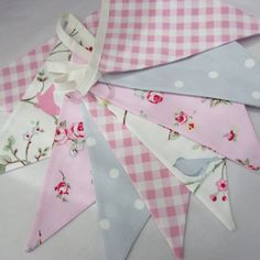 Fabric Bunting Shabby Chic Style Bird Trail Pink Rosebud Gingham, 9 double sided Flags