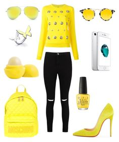 """Bez naslova #90"" by ilmatokanovic13 ❤ liked on Polyvore featuring Versus, Boohoo, Christian Louboutin, Moschino, Krewe, Victoria Beckham, OPI and Eos"
