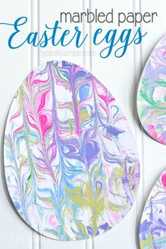 With just a few supplies, make this fun Easter Egg craft using marbled paper. The kids will have so much fun getting a little messy and creating some Easter decorations!