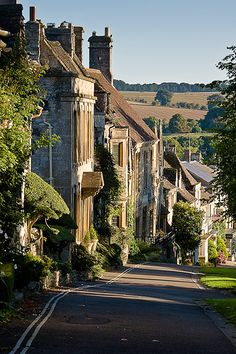 Looking down Burford High Street, England