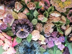 My French Ribbon Flowers include designs made with French ombre, silk and vintage ribbons from my collection.