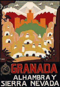 Granada y Sierra Nevada : Vintage Spanish poster