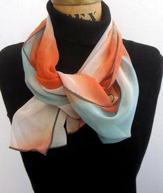 "Le Beau Cou orange ombre silk aviator scarf, orange, turquoise, and white - 10"" x 60"""
