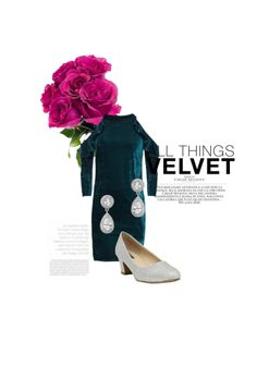 'All things Velvet' by me on Limeroad featuring Solids Green Dresses, Silver Pumps with Silver Earrings