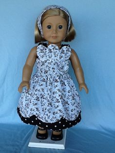18 inch doll clothes. Black and white petal doll dress.  Fits American Girl,Dolls.