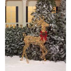 "Holiday Time 52"" Glittering Natural Grapevine-Look Turning Head Buck Light Sculpture - Walmart.com"
