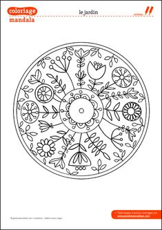 Coloriage Mandala : Le jardin. This would make a great embroidery pattern. I have already imagined it in my head!