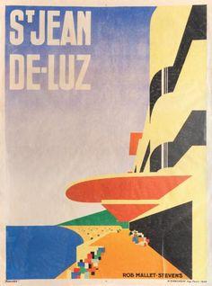 ROBERT MALLET-STEVENS (1886-1945)  Saint-Jean de Luz. Affiche lithographique en couleurs éditée par l'Imprimerie Chachoin à Paris en 1928.