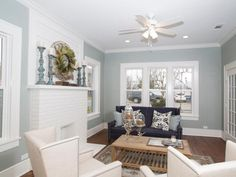 Check out this shabby chic blue and white living room with a fireplace on HGTV.com.