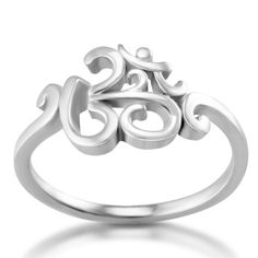 Amazon.com: Chuvora 925 Sterling Silver Calligraphy Style Yoga, Aum, Om, Ohm, India Symbol Ring, US Size 6, 7, 8, 9: Jewelry
