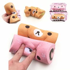 Squishyfun Swiss Roll Kawaii Bear Sponge Cake Toy Super Slow Rising With Original Packaging Funny Squeeze Toys Plush Dolls, Doll Toys, Baby Dolls, Rilakkuma, Pusheen, Silly Squishies, Zoe S, Totoro, Slime And Squishy