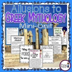 This TITAN of a mini-unit includes an amazing assortment of resources to help you teach allusions and words and phrases from Greek mythology.  The unit includes  lesson plans,   examples of allusions,  student foldable,  student booklet of words and phrases from Greek myths,  color posters,  an art integration piece,  a literacy center support activity, and more!If you are a fourth grade teacher and are teaching the Common Core Standards but dont have the time to teach a whole unit on Greek…