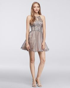 Short Homecoming Dress with Flouncy Skirt and Keyhole Neckline - Steppin' Out available at David's Bridal