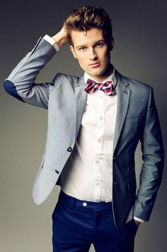 Men's Grey Blazer, White Dress Shirt, Blue Chinos, White and Red and Navy…