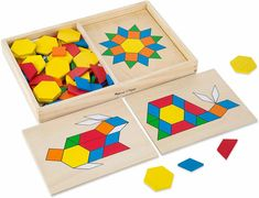 Wooden Pattern Blocks and Boards: They aid in color recognition, shape recognition, hand-eye coordination, patterning, spatial awareness, matching and problem-solving. This set's puzzles are fun and engaging for the child while helping them with the above math skills. Learning Shapes, Learning Toys, Early Learning, Lego Duplo, Toddler Toys, Kids Toys, Baby Toys, Tier Puzzle, Wooden Pattern