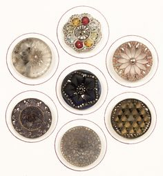 Antique-19c-Group-7-Unusual-Silver-Luster-Lacy-Glass-Buttons