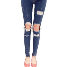 Vshop-2000 Women Hole Destroyed Ripped Motorcycle Distressed Denim Jeans