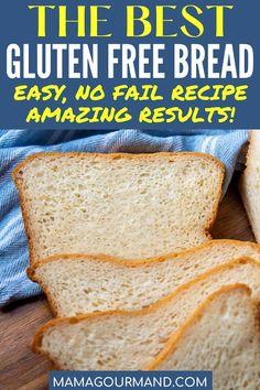 Good Gluten Free Bread Recipe, Quick Bread Recipes, Easy Bread, Gluten Free Baking, Dairy Free Recipes, Real Food Recipes, Baking Recipes, Delicious Recipes, Homemade Sandwich Bread