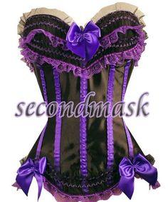 sexy purple victorian royal satin corset bustier