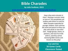 Bible Charades for Kids -36 Easy Prep Cards, Fun Games for Church & More | Prek, kindergarten, 1st, 2nd, 3rd grade