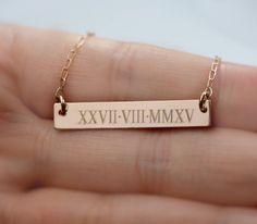 roman numeral necklace  Personal Name Bar by jewelrycraftstudio