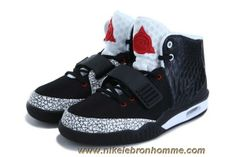 finest selection 6703d 02bb7 2013 Nike Air Yeezy II Hommes Chaussures Noir Blanc Rouge Vente Baskets Nike,  Black Shoes