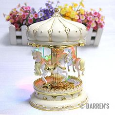 LIWUYOU Merry-Go-Round Music Box Carousel Horse Luxury Large Color Change LED Light Luminous Rotation With the Castle in the Sky Christmas Gifts Color Beige