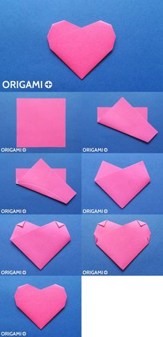 Origami 6-fold heart. Create a beautiful paper heart with just six folds!!! #origami #heart #tutorial #diy #love