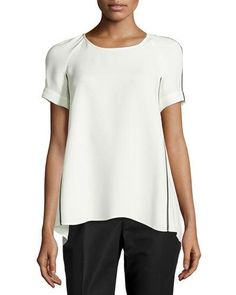 Lafayette 148 New York Kate Short-Sleeve Silk Blouse, Cloud/Black New offer @@@ Price :$428 Price Sale $255