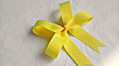 Hair Bow  Tails Down Yellow Polka Dot Hair Bow by AmalieBowtique, $3.75
