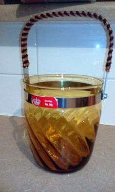 Retro Amber with Stainless Steel Ice Bucket by OldVintageTreasures2 on Etsy