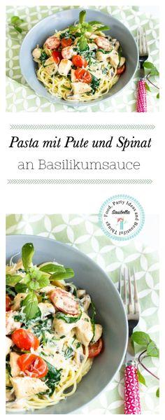 Spaghetti mit Pute,Spinat und Tomaten in einer leckeren Basilikumsauce. Ein schnelles Pastarezept.