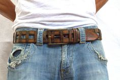 Brown Studded Leather Belt with golden vintage style by ISHAOR