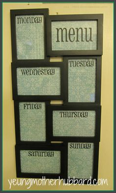 Dry Erase Menu Board. $30.00, via Etsy. Gives me an idea for a DIY dry erase menu board!