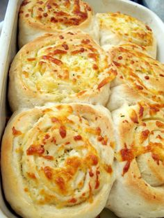 Garlic cheese rolls: pizza dough, garlic butter, and cheese.