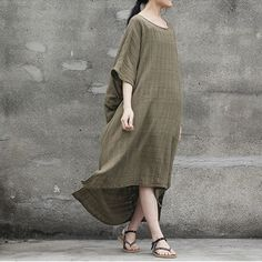 women cotton 1/2 sleeve loose fitting summer dress - Buykud  - 2