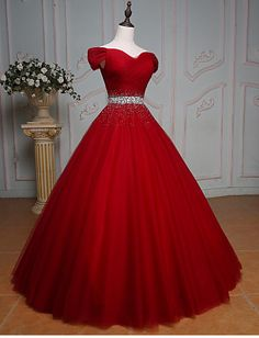 High Quality Off Shoulder Red Prom Dress,Red Tulle Evening Dress,Sexy Off Shoulder Sleeves Red Graduation Dress